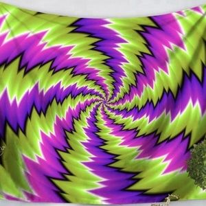 Purple & Green Trippy Optical Illusion Tapestry